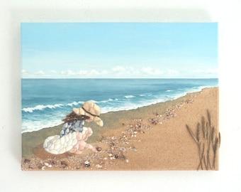 Girl Picking Seashells in Seashell Mosaic 3D Wall Art, Painting of Girl on Beach, Beach house Decor, Children Art, Beach Scene Collage