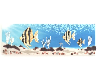 Angelfish in Seashell Mosaic 3D Wall Art, Underwater Scene Painting, Tropical Wall Decor, Ocean Art, Sea Life Decor, Nautical Wall Art
