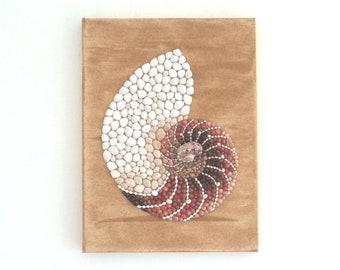 Nautilus Seashell in Seashell Mosaic & Sand Wall Art, Nautilus 3D Collage Beach House Decor, Ocean Art for Seashell Lovers, Natural Wall Art