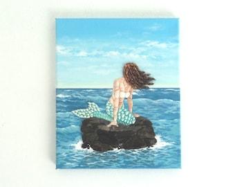 Mermaid on a Rock in Seashell & Pebble Mosaic, 3D Painting, Beach House Decor, Fantasy Mermaid Gift, Ariel at Sea Seashell Canvas Wall Art
