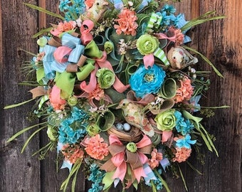 Front Door Wreath . . . Floral Wreath . . . Summer Wreath . . . Bird Wreath