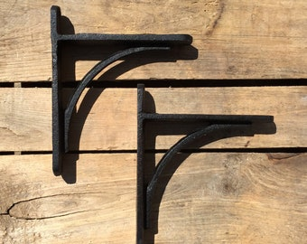 Pair of Black Cast Iron Shelf Brackets