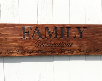 READY TO SHIP, Family Celebrations Calendar Board