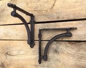 Pair of Small Farmhouse Style Shelf Brackets, Curved Pipe Cast Iron Shelf Brackets, Pair of Shelving Brackets, Farmhouse 14838