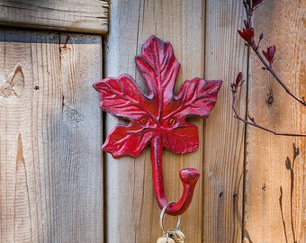 Maple Leaf Cast Iron Wall Hook - Red