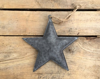 Dark Grey Rustic Metal Star Hanging Ornament