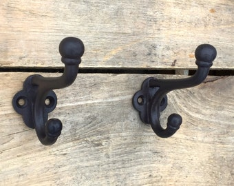 Pair of Rustic Cast Iron Double Hooks