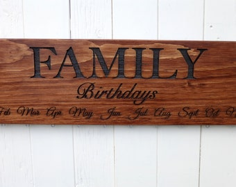 Family BIRTHDAYS Calendar Board