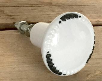 White Ceramic Farmhouse Knob