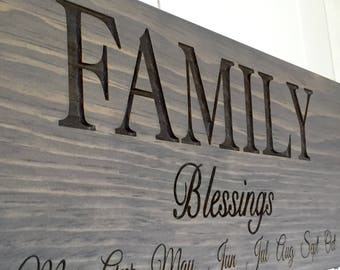 Family BLESSINGS Calendar Board