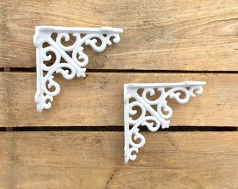Pair of Small White Decorative Shelf Brackets