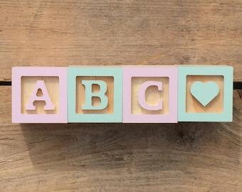 RESERVED FOR JAYNETILLEY14, 4xMini Wooden Letter Blocks