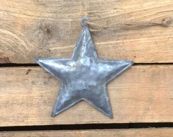 5 Inch Rustic Metal Star Hanging Ornament