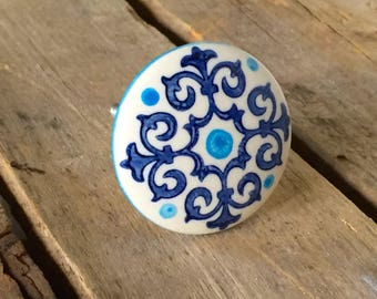 Blue and White Scroll Ceramic Drawer Knob