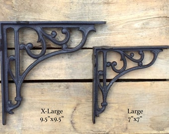 Pair of Decorative Cast Iron Brackets