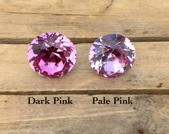 Large Pink Glass Faceted Knob
