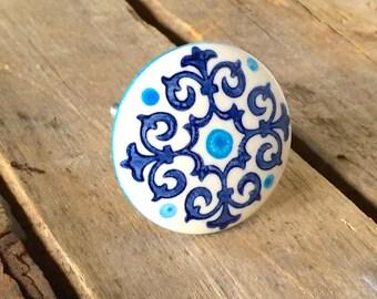 Blue and Ivory Scroll Ceramic Drawer Knob, Mediterranean Style Drawer Pull, Decorative Ceramic Knob