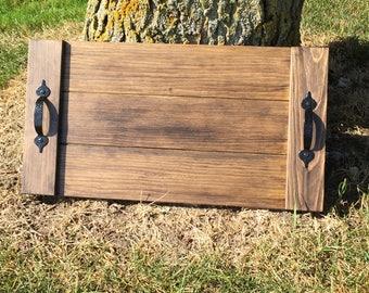 Rustic Wooden Serving Tray, Farmhouse Home Decor, Rustic Ottoman Tray