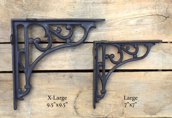 """6 SMALL BROWN ANTIQUE-STYLE 5.5/"""" SHELF BRACKETS RUSTIC CAST IRON-CURVED ARCH"""