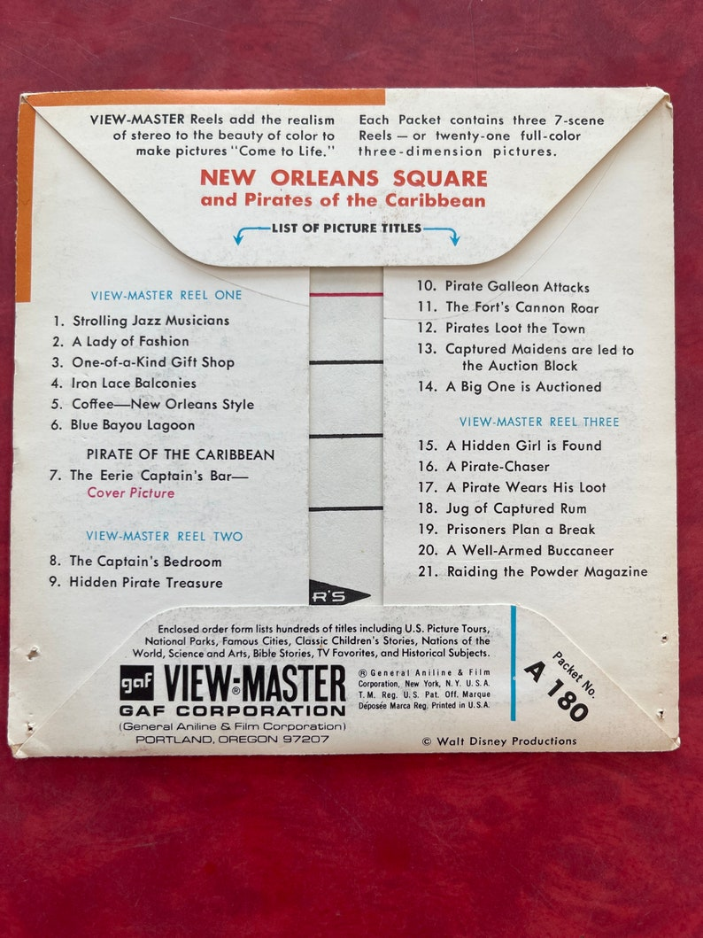 Vintage GAF Disneyland New Orleans Square View Master A 180 Pirates of the Caribbean