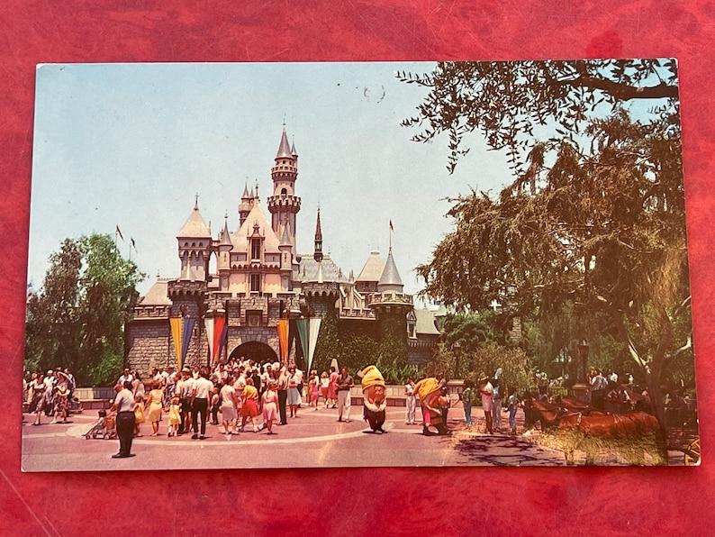Dwarfs Vintage Disneyland Fantasyland Postcard Sleeping Beauty/'s Castle Horse Drawn Street Car