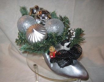 Silver Delight Ornamental Christmas Shoe Decoration