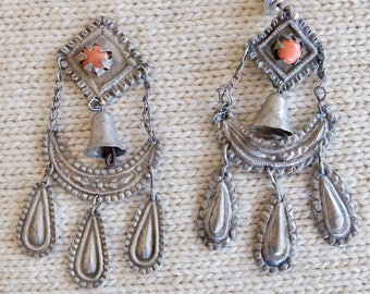 Vintage 1900s Silver Drop Earrings with Bell and Coral, Bolivia