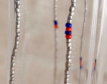 Vintage Handmade Fine Silver Seed Bead Necklace, Mapuche Indian, Araucanía, Chile