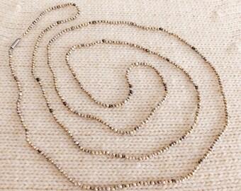 Vintage Handmade Fine Silver and Gilt Hexagonal Bead Necklace, Mapuche Indian, Araucanía, Chile