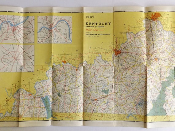 Kentucky vintage fold-out road map, Official Highway Map, 1967