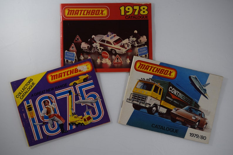 Matchbox diecast vintage catalogs, set of three, from 1975, 1978 and 1979/80