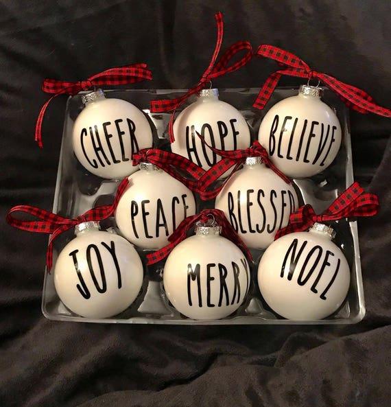 Rae Dunn Inspired Christmas Ornaments Set Of 8 Ornaments Christmas Ornaments Buffalo Plaid Ornaments Rae Dunn Buffalo Plaid Bow