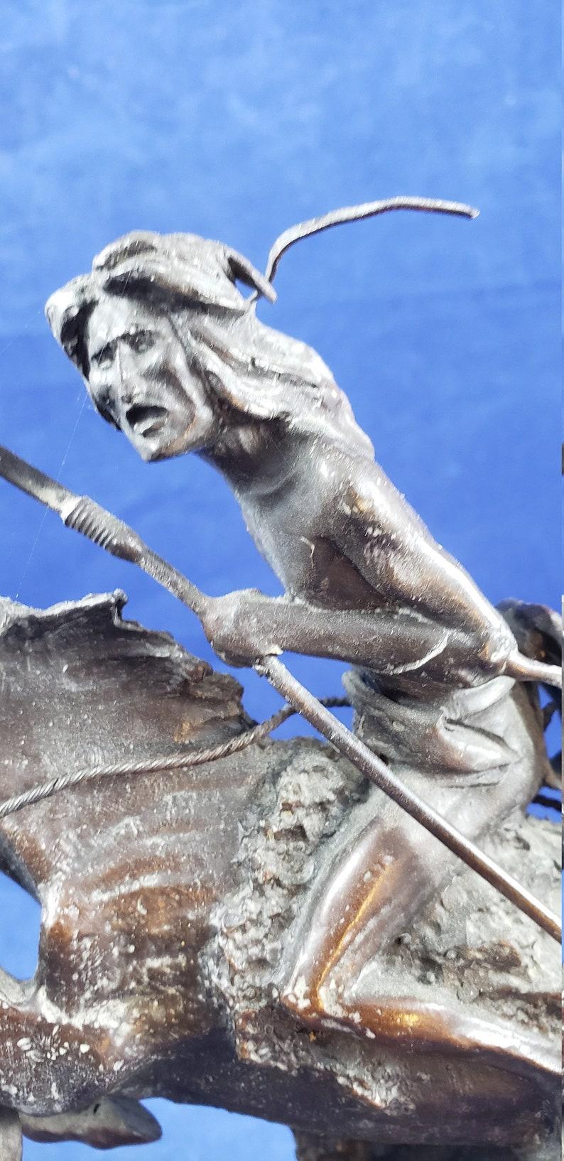 Remington Cheyenne Statue Marble Base 9.5 inch