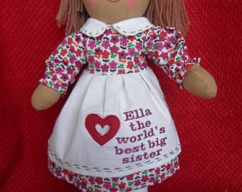 "personalised rag doll new baby big little sister love heart doll birthday 16"" 40cm"