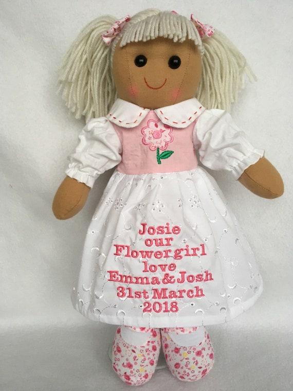 "Personalised Rag Doll Goddaughter Granddaughter Niece Daughter Christening 16/"""