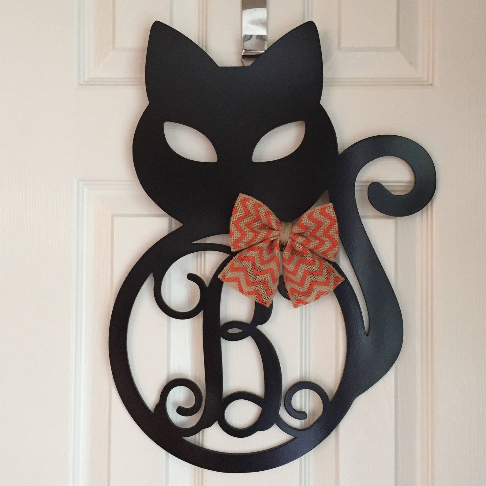 Monogram Black Cat Door Hanger