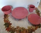 Fiesta Flamingo 4 piece place Setting with Dinner, Salad, Mug and Bowl