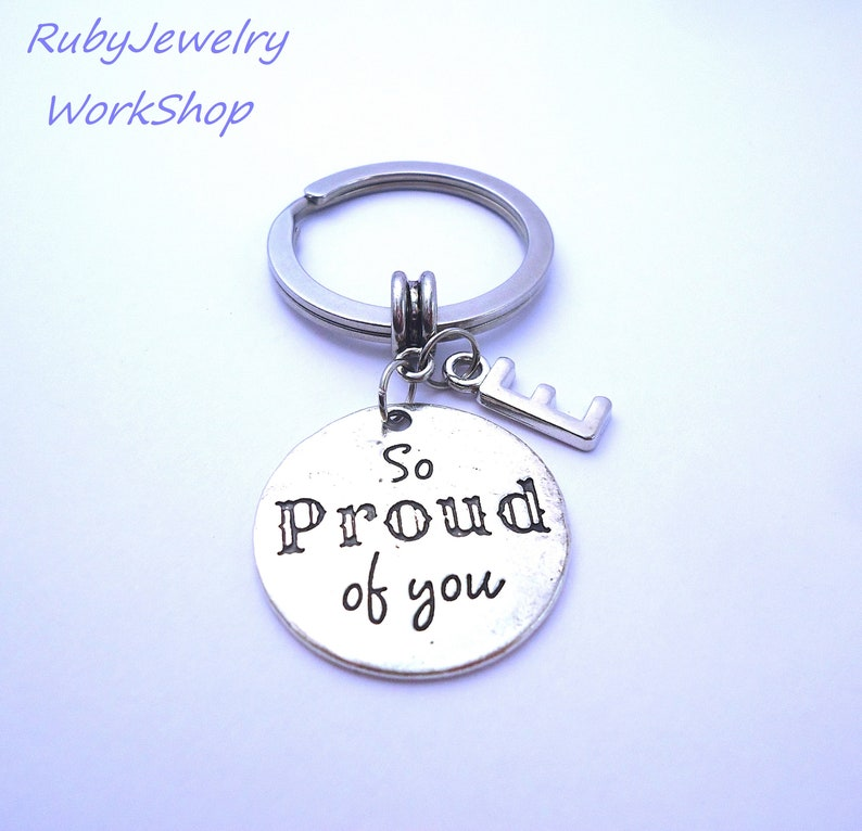 Initial Message Key Chain - 'So Proud Of You!' - Antique Silver Charms -  Birthstone Available - To Son,Daughter,Nephew,Niece,Brother,Sister