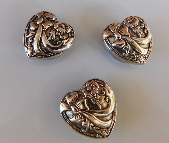 Beautiful Vintage Set of 3 Heart Shaped Silver Tone Button Covers