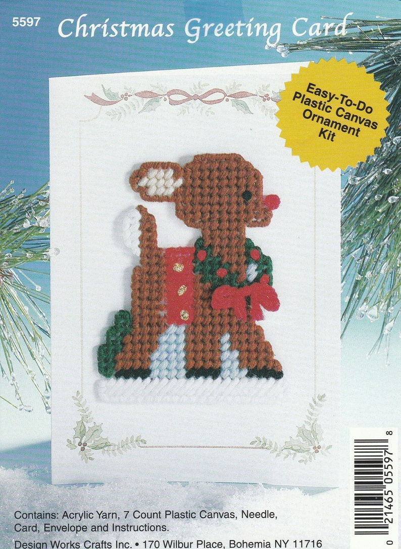 PDF Digital File Plastic Canvas  Christmas Greeting Card  2002 Design Works Craft