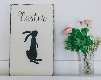 White Farmhouse Easter Rabbit Wood Sign, Bunny Wall Art, Animal Print, Peter Rabbit, Rustic Easter Wall Plaque, Spring Gift