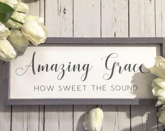 Framed Amazing Grace Hymn Sign, Scripture Wall Art, Christian Farmhouse Home Decor, Rustic Chrstian Song Lyric Sign