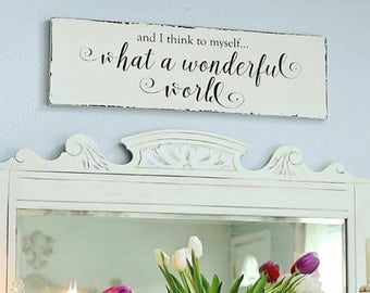White What A Wonderful World Farmhouse Rustic Wall Decor for Home, Baby Shower Gift, Housewarming Gift, Gift for Mom, Size: 12x40