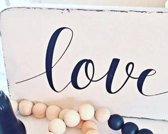 Love Sign, Farmhouse Decor, Farmhouse Sign, Bedroom Decor, Bedroom Wall Art, Anniversary Gift, Love Decor, Romantic Wall Art, Love Wood Sign