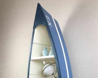 Handpainted and stencilled Boat shelving unit.