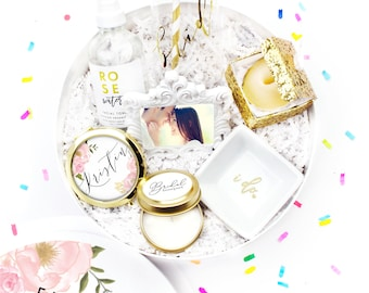 Engagement Gift - Gift for Bride - Future Mrs. Wedding Gift - Here Comes The Bride - Gift for Bride - Custom Gift Box - White Confetti