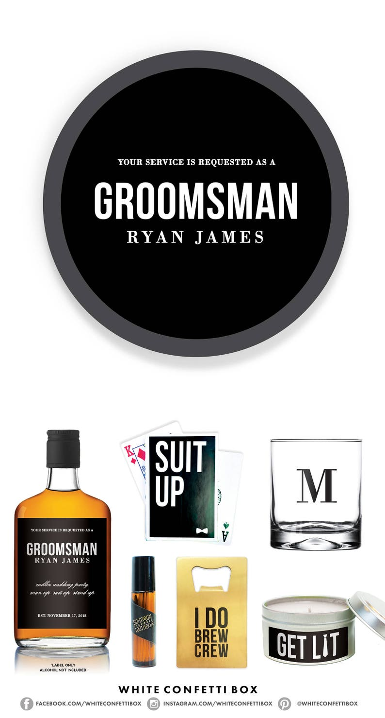 Groomsman Proposal Asking Groomsmen Box Best Man Gift Box Custom Liquor Label Groomsmen Will You Be My Groomsman Groomsmen Gifts