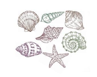 Mini Shell Sea Silhouette Machine Embroidery Fill Design Seashell Embroidery Designs Instant Download