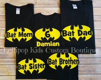 0e89a4bd0 Batman Birthday black short sleeve Shirt, family shirts, Bat Mom, Bat Dad,  Bat Sister, Bat Brother and others available.
