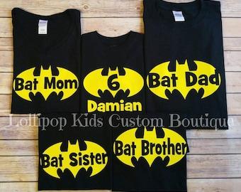 Batman Birthday black short sleeve Shirt, family shirts, Bat Mom, Bat Dad, Bat Sister, Bat Brother and others available.